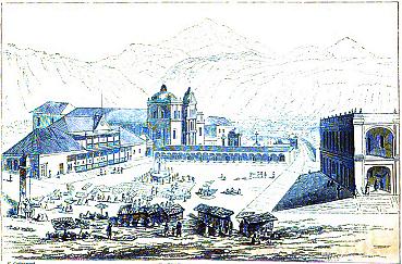 Parque Central de Quetzaltenango en 1840, grabado de Frederick Catherwood, tomado de Wikimedia.