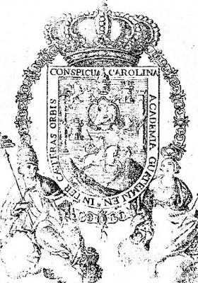 Escudo de la Real y Pontificia Universidad de San Carlos Borromeo;; publicado por La Locomotora.