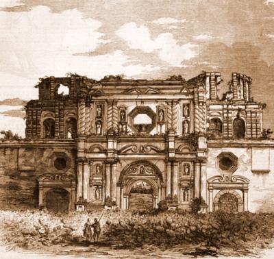 Ruinas de la Recolección en 1840, aproximadamente. Imagen tomada de Wikimedia Commons.