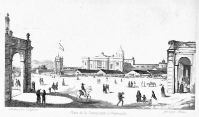Plaza de la Constitución de Guatemala en 1840; grabado de la Compañía Belga de Colonizacion. Wikmedi