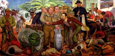 """Pintura """"Gloriosa Victoria"""" del pintor mexicano Diego Rivera sobre el triunfo de la Liberación"""