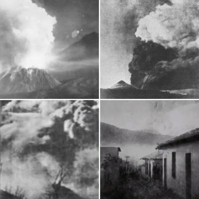 Fotografías de la erupción del volcán Santa María en 1902.  Imágenes tomadas de Wikimedia Commons.