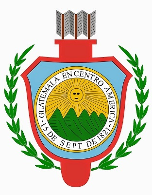 Escudo del Estado de Guatemala de 1843 a 1851.  Imagen tomada de Wikimedia Commons.