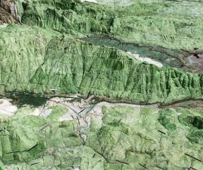 Detalle Mapa en Relieve de Guatemala mostrando la Sierra de las Minas entre el Polochic y Motagua.