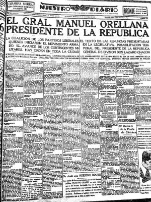 Portada de Nuestro Diario del 17 de enero de 1930.  Imagen tomada de Wikimedia Commons.
