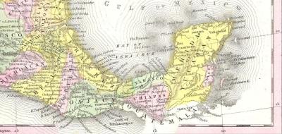 Mapa de México en 1840: obsérvese Soconusco al sur de Chiapas todavía parte de Guatemala.