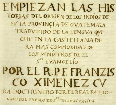 Portada del manuscrito de Francisco Ximénez.