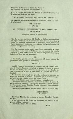 Decreto 17 del Supremo Gobierno de Guatemala, Junio de 1845.
