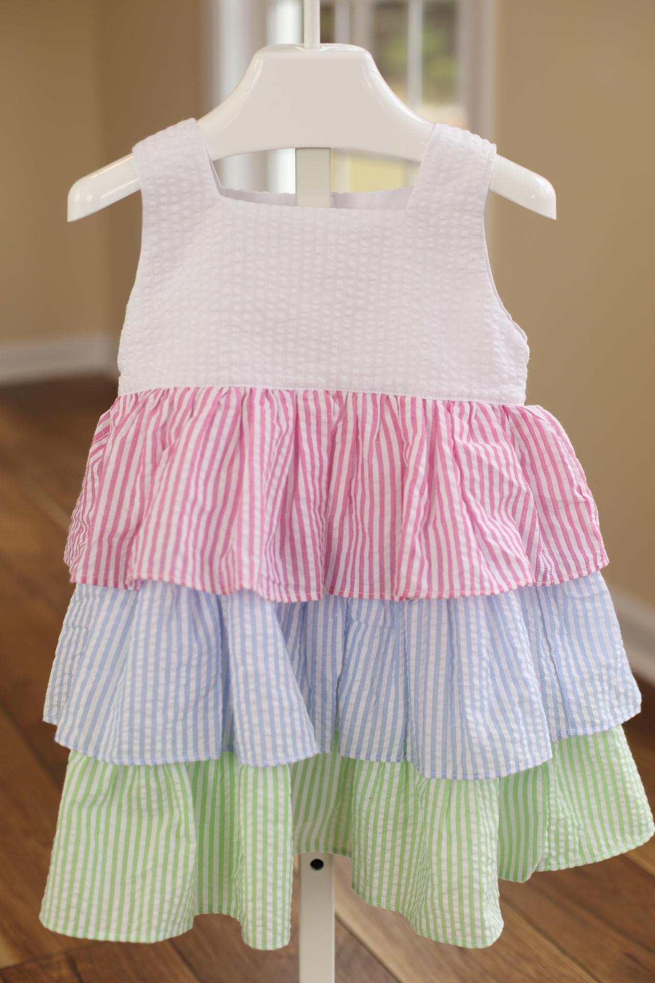 Seersucker Ruffle Dress