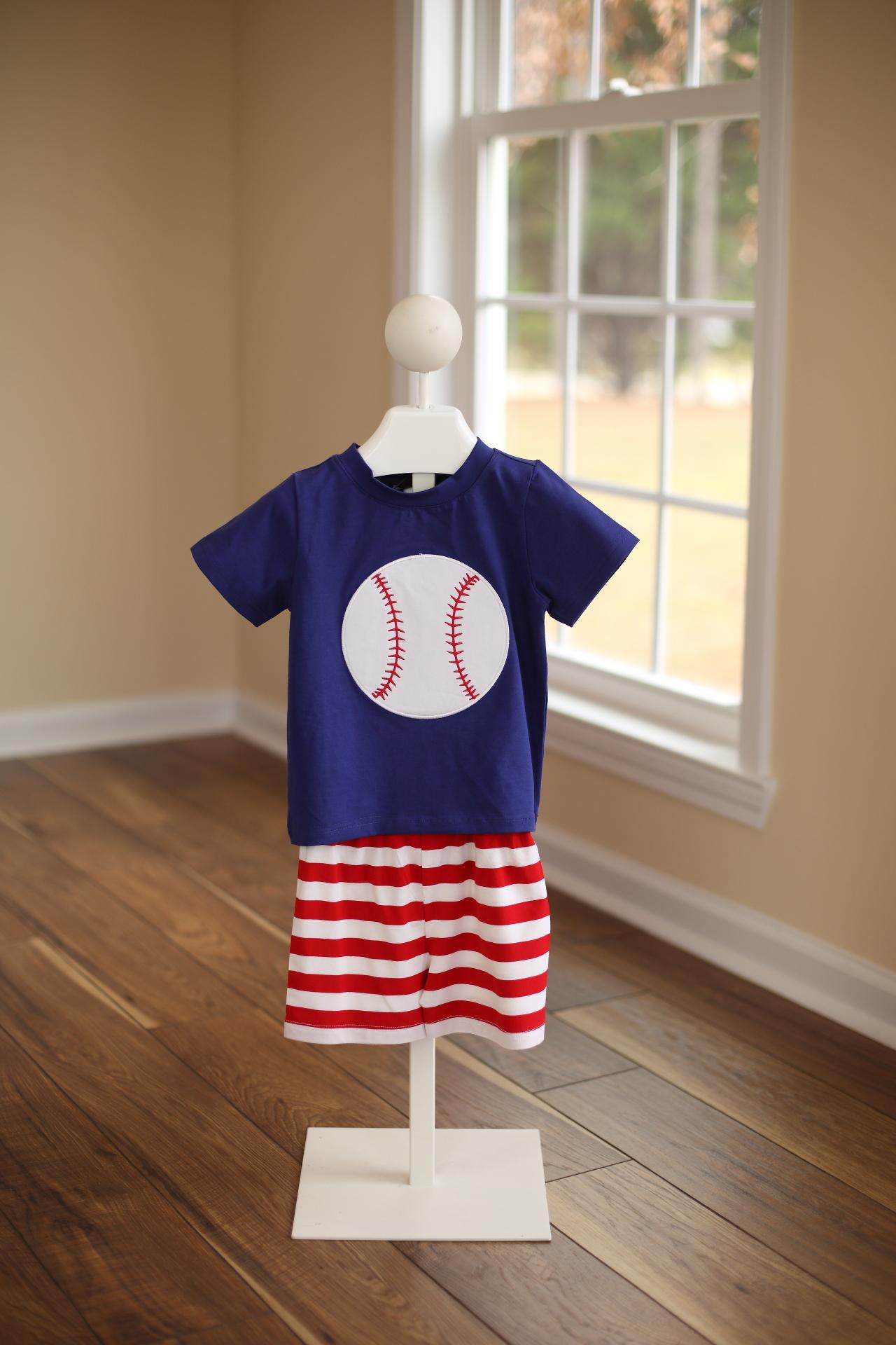 Boys Knit Baseball Short Set