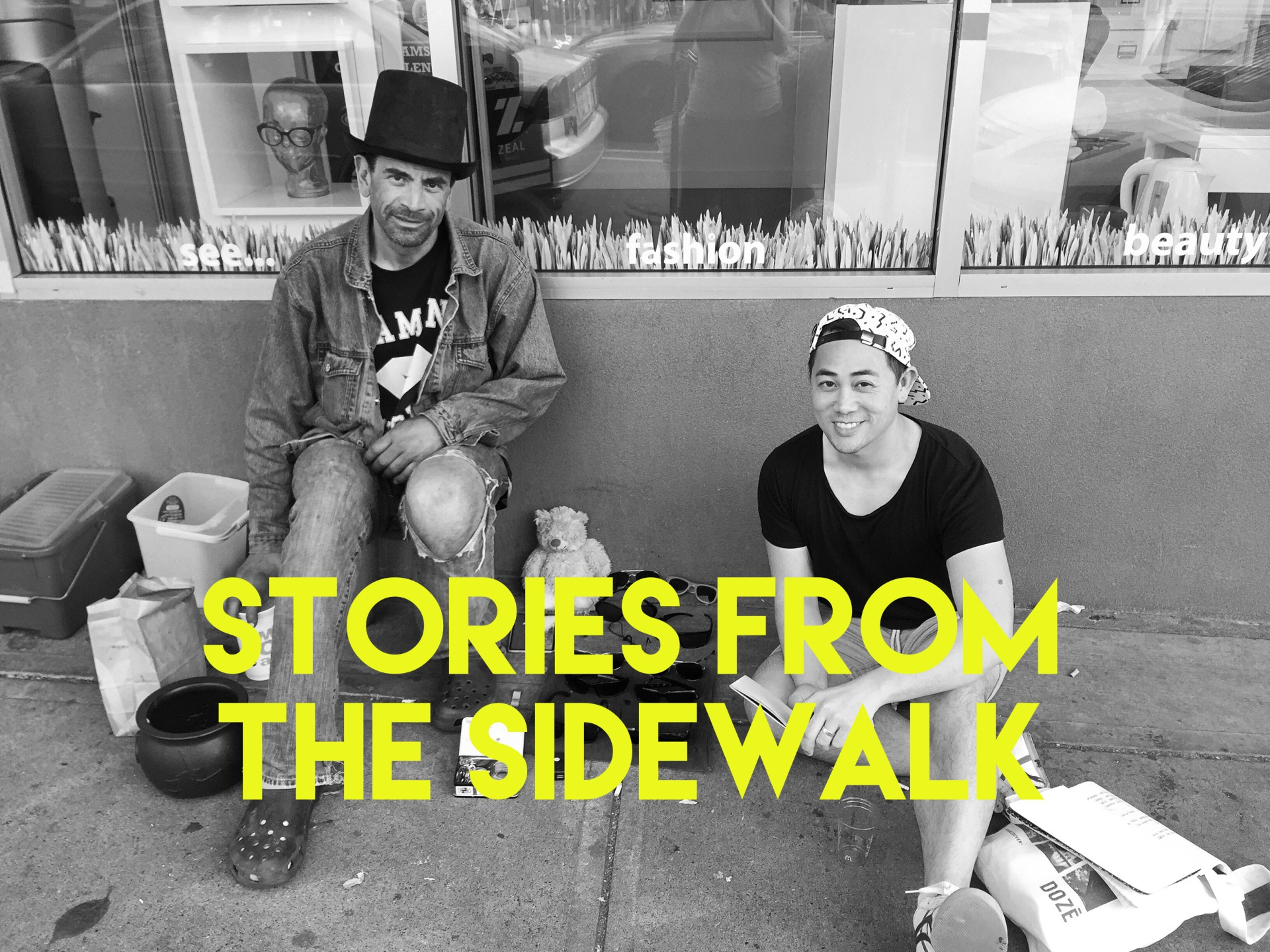 Tony (left) & Eddy (right) have a chat on the sidewalk.