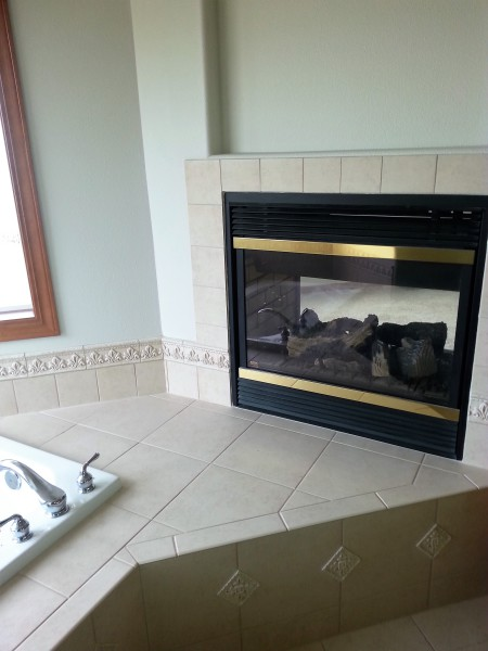 New fireplace in bathroom