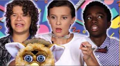 The kids from Stranger Things play with toys from the 80's and 90's