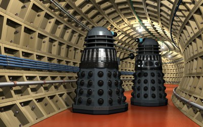 Daleks in an underground tunnel