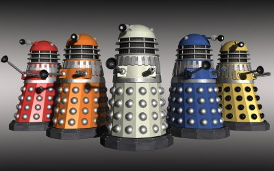 Hybrid coloured Daleks