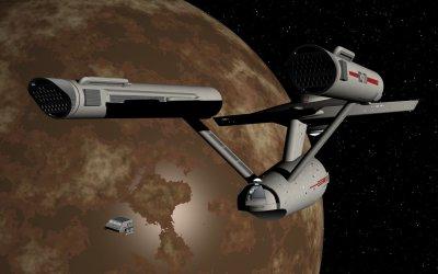 Shuttle departing USS Enterprise