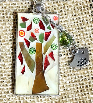 Mosaic Tree Pendant Fall Colors