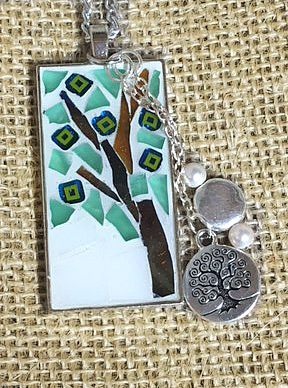 Mosaic Tree Pendant Winter Colors