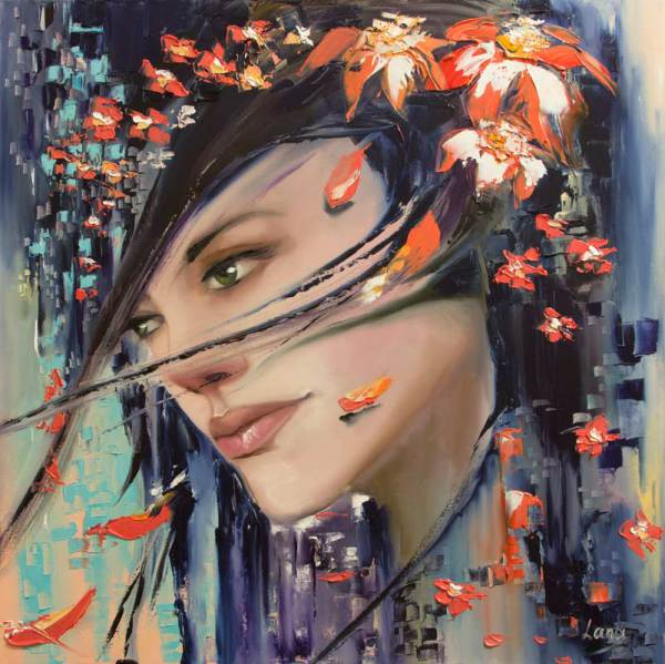 Fantasy colorful vivid and vibrant woman portrait oil on canvas, Expression of an emotions: sadness, romance and coldness.