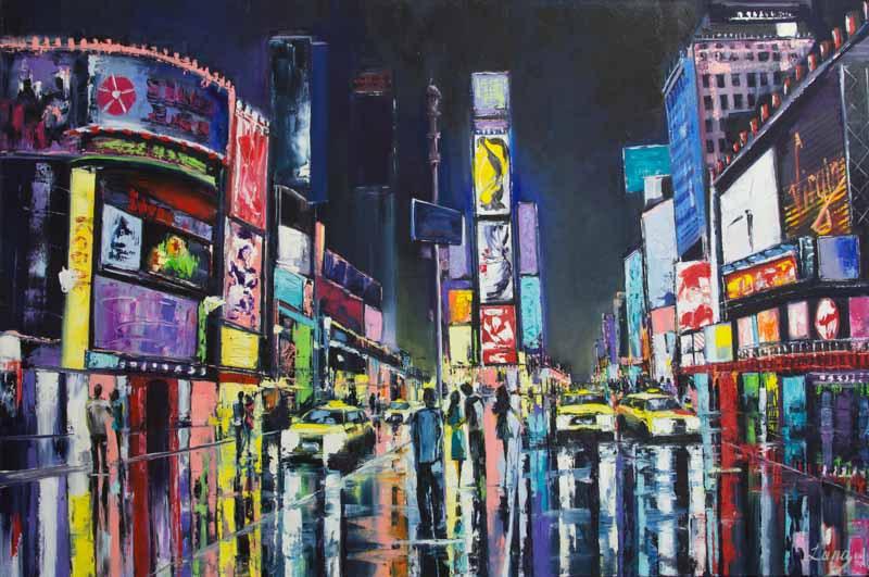Нью Йорк, живопись, яркая, холст, Лана, Тихинова, Светлана, художник, абстракт, подарок, ночь, дождь, отражения, неон