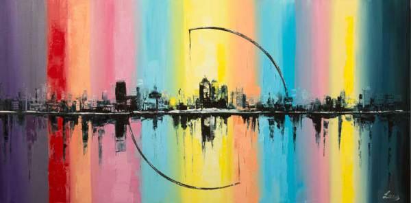 радуга, город, абстракция, картина, живопись, подарок, картина в подарок