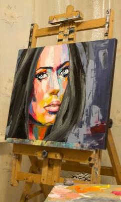 fine art, portrait, painting, artwork, studio, colorful, vivid, vibrant