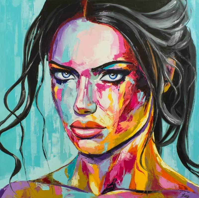 artwork, Strawberry & cream, fine art, abstract, oil portrait, art, contemporary, emotion, expression