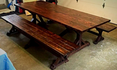 """X"" Leg Farmhouse Table w/ benches"