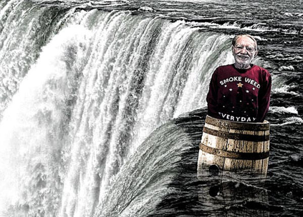 Willie Nelson Goes Over Niagara Falls in Barrel!