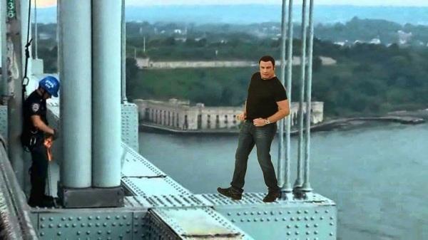 John Travolta Re-enacts 'Fever' Bridge Stunt! Snarls Traffic For Miles!