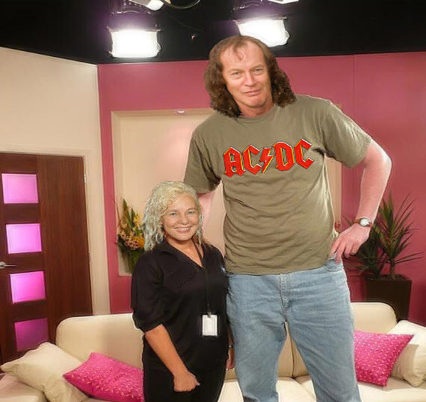 Angus Young Grows To 7 Feet Tall!
