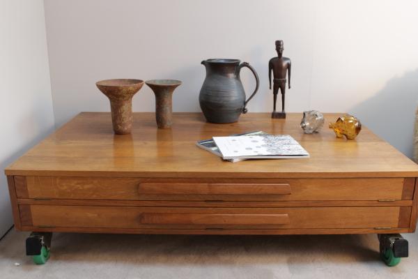 Large oak plan chest