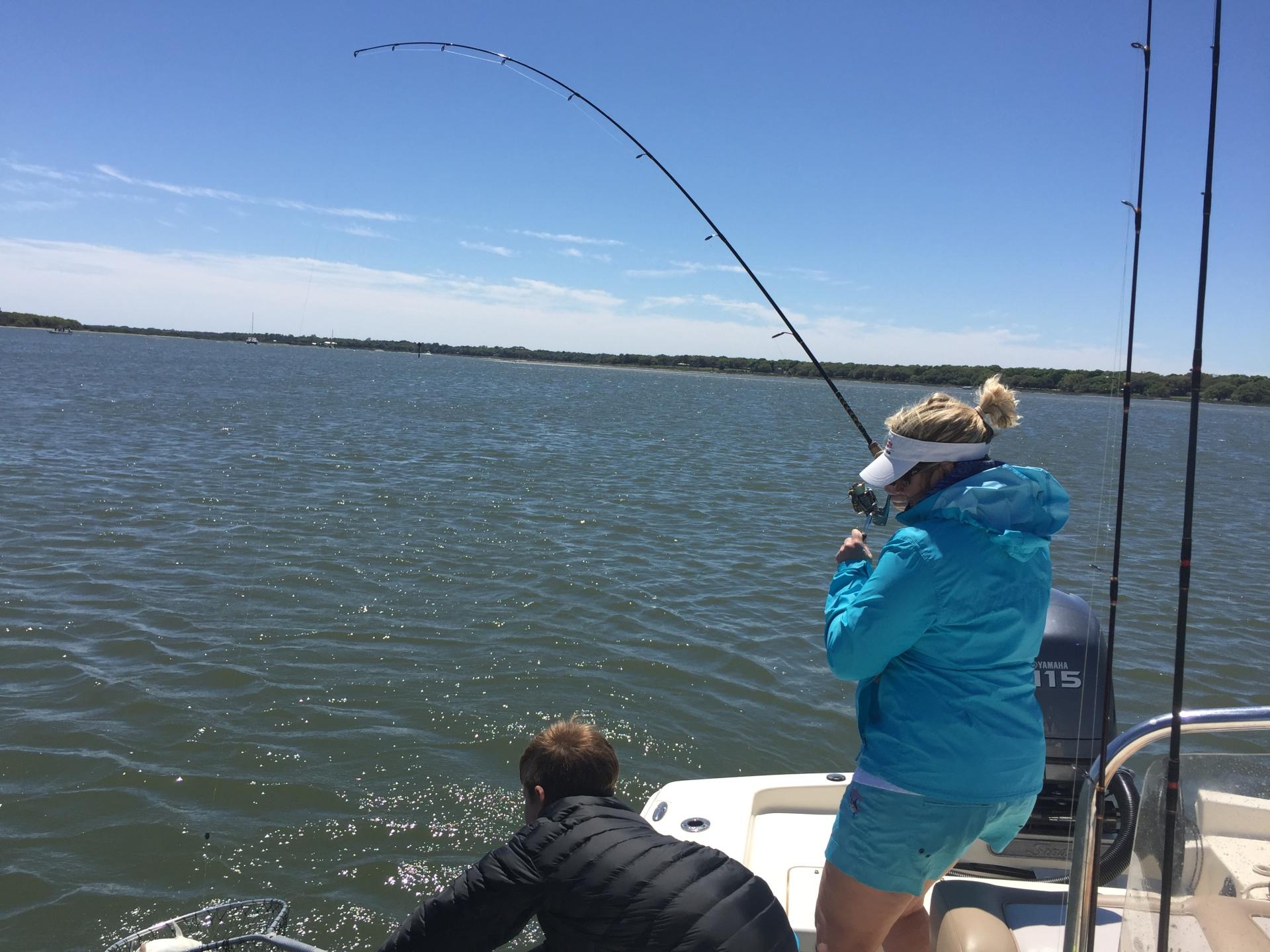 Kristen and Emmet spring redfishing 2016