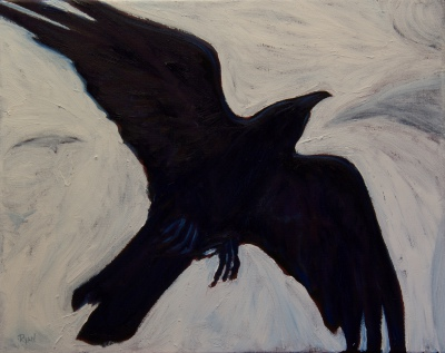 "Raven over the Canyon (16"" x 20"")"
