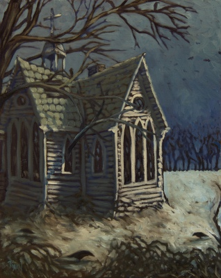 "Abandoned Church, Winter (16"" x 20"")"