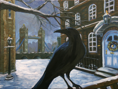 "Raven at the Tower of London (18"" x 24"")"