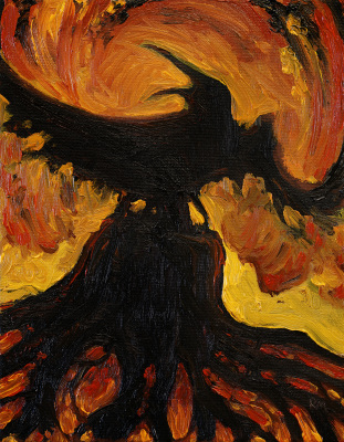 "Burning Crow (8"" x 10"")"