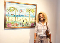 Nina Johnson with my painting at the Bake House Gallery