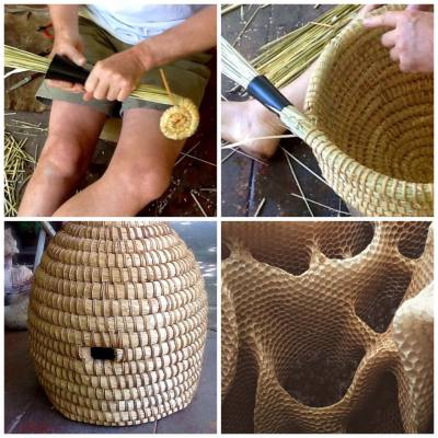 Images of a skep being made.  Now almost a lost art form.