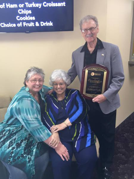 The Welch family celebrating Clarence's award for his faithful service to New Beginnings.