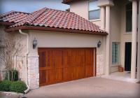 Carriage style Cedar garage door with Teak stain.