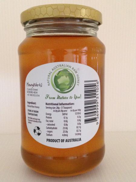 Rear label on HoneyWorks 500g Glass Jar honey