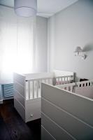 nursery, white cradle, crib, hardwood floor
