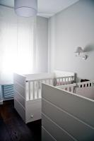 nursery, white cradle, crib, hardwood floor