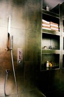 Metallic finish tile, niche, gessi italy faucets