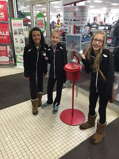 Ashanti Rice and the Gartner twins bell ringing at JCPenny's