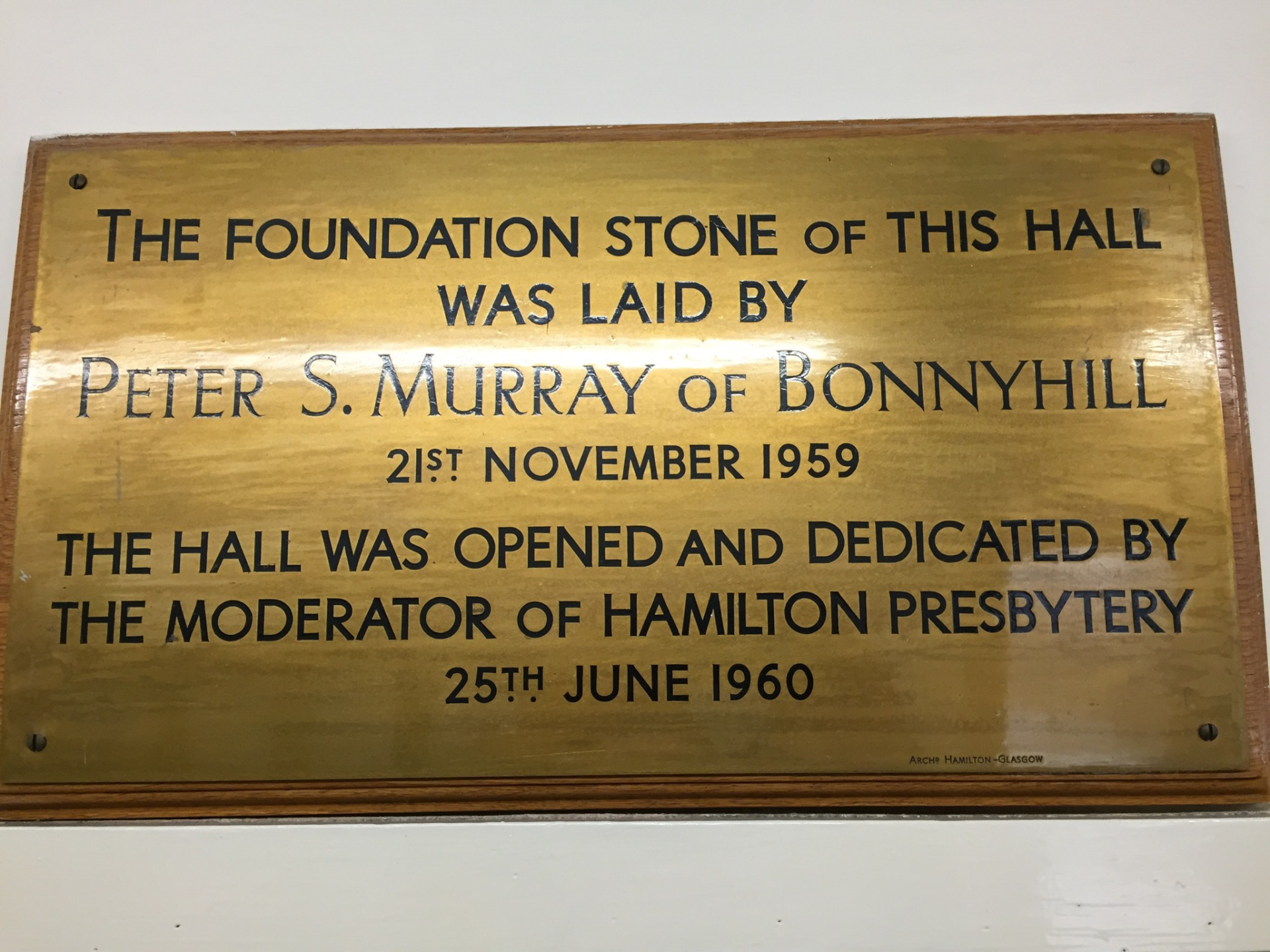 Plaque marking laying of foundation stone