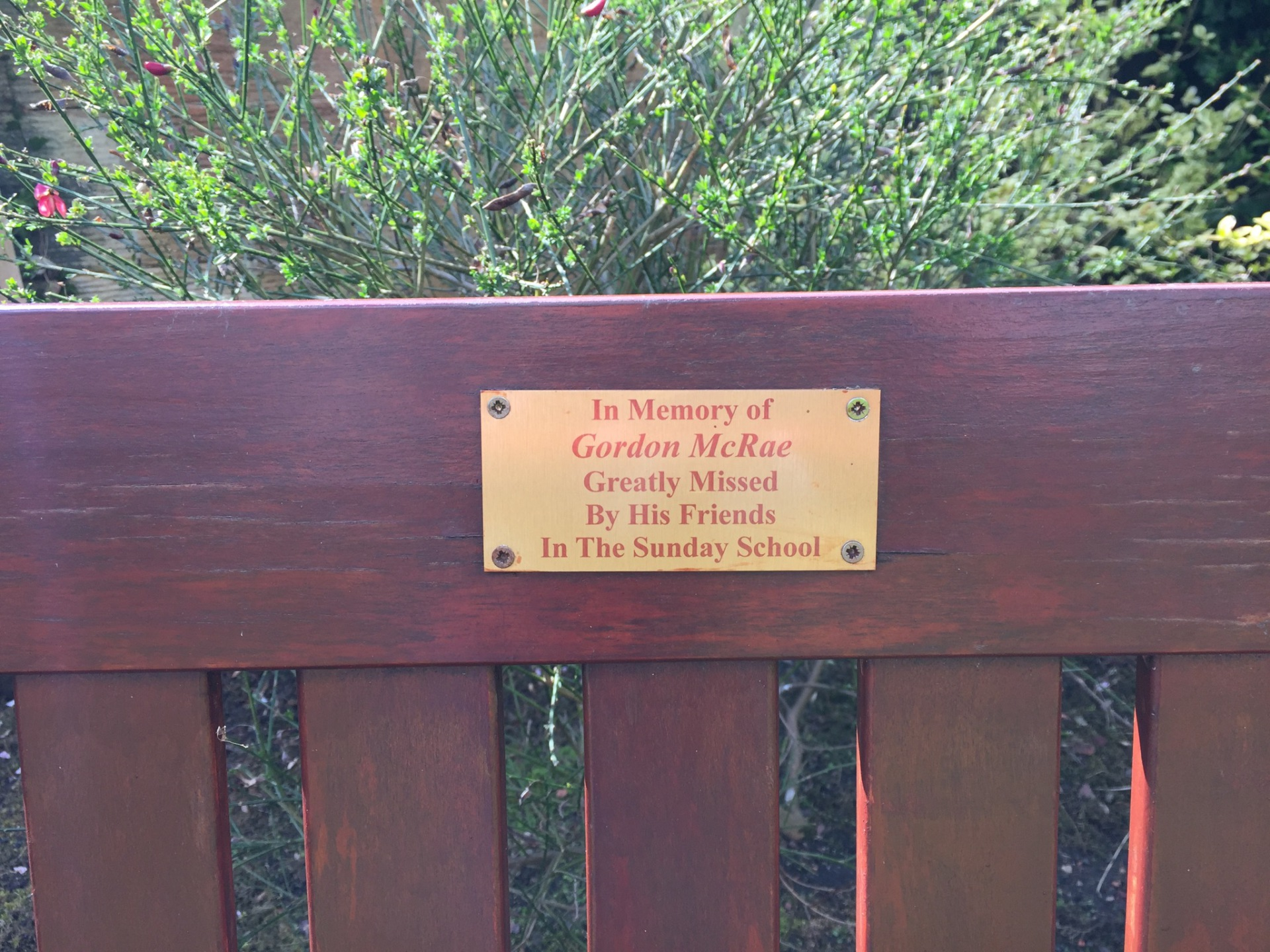 Plaque on bench