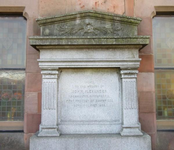 Grave stone of John Alexander, first Provost of Coatbridge