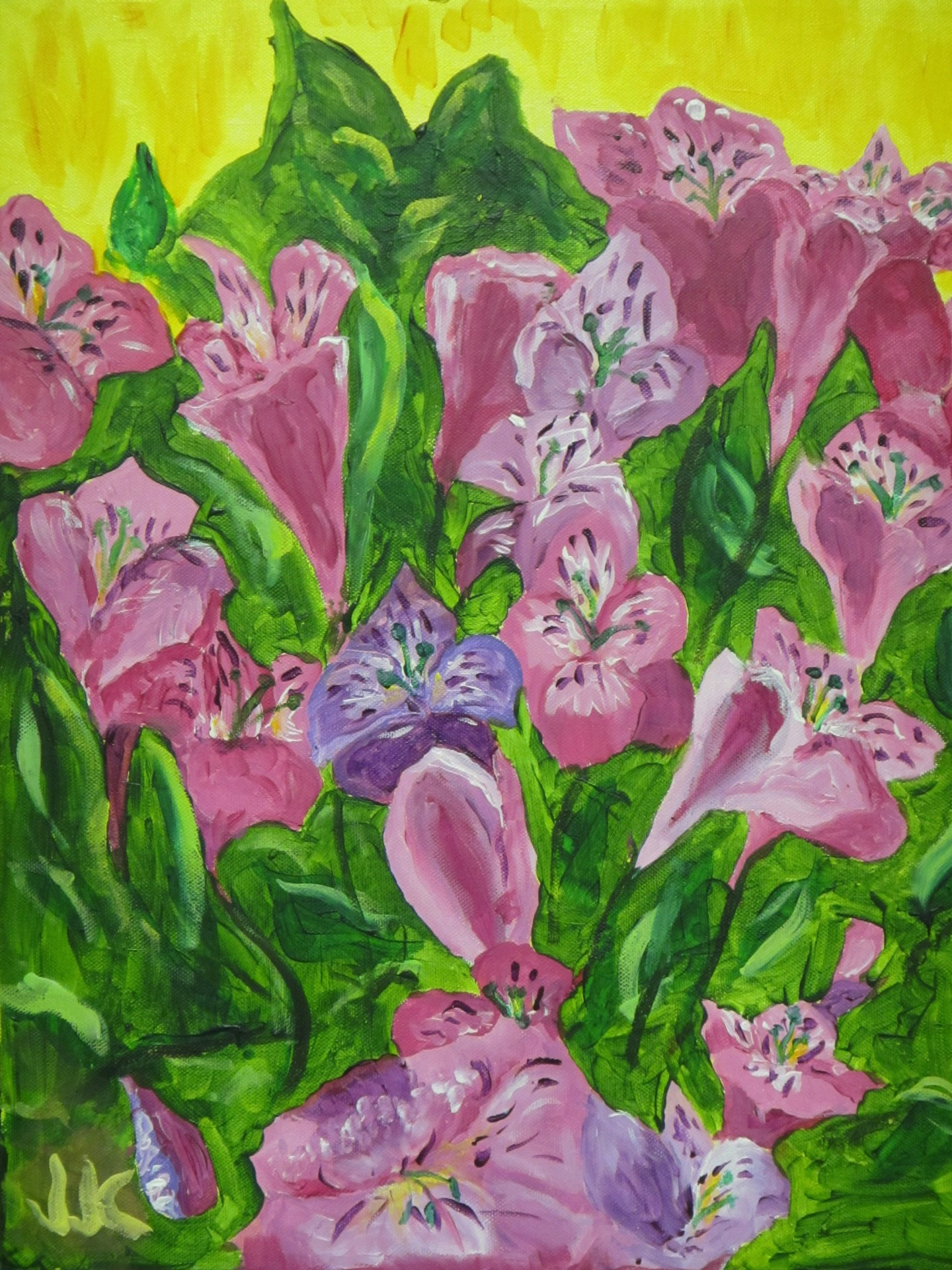 Acrylic painting on canvas of a bouquet of purple flowers.